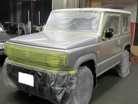 SUZUKI スズキ ジムニー XC AT(JXCR-J)保険修理(板金塗装・パーツ交換)&自費施工=ガラスコーティング  &オプション施工終了