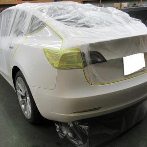 Tesla テスラ モデル3 デュアルモーターAWD(ZAA-3L23)再塗装磨き&ガラスコーティング施工終了